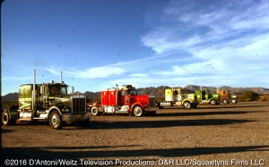 The trucks are lined up for the big race