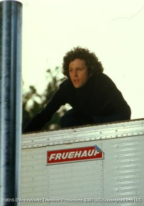 John Rubenstein atop trailer