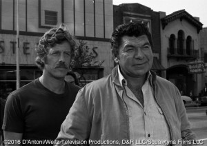 Claude Akins and Frank Converse on camera in downtown Charlotte