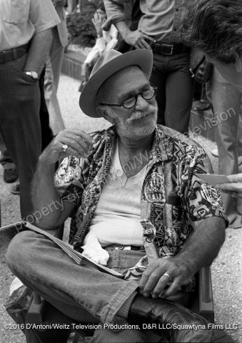 Keenan Wynn relaxes between takes