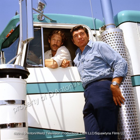 Claude Akins and Frank Converse on Kenworth 900 as seen in Movie-of-the-Week, In Tandem