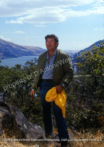 Claude Akins with Columbia River in background