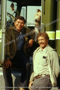 Claude Akins, Frank Converse and Shadrac the dog