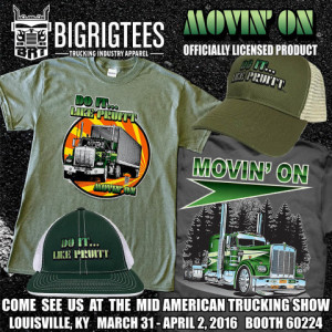 Big Rig Tees ad for Movin' On merchandise on sale at Mid-Atlantic Trucking Show