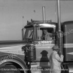 Stunt driver Bill Lane in the Kenworth
