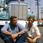 Claude Akins and Frank Converse in front of Kenworth 900 as seen in Movie-of-the-Week, In Tandem