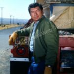 Claude Akins at the back of his trailer